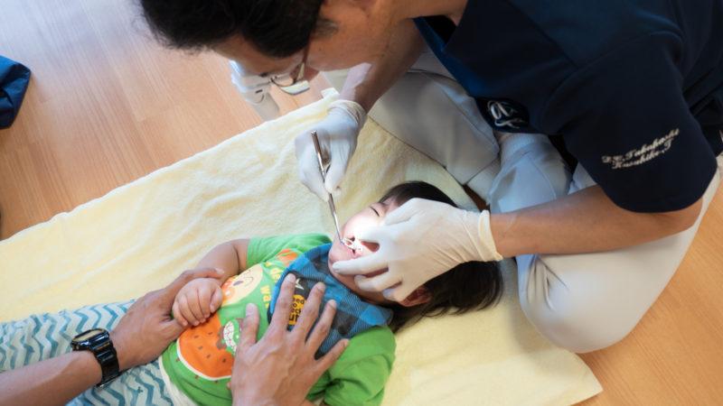 グローバルキッズルームうがたで初めての歯科健診