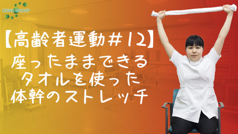 【高齢者運動#12】座ったままできるタオルを使った体幹のストレッチ