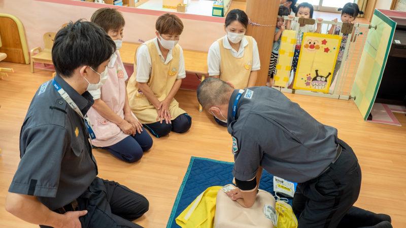 グローバルキッズルームうがたで救命講習を行いました。